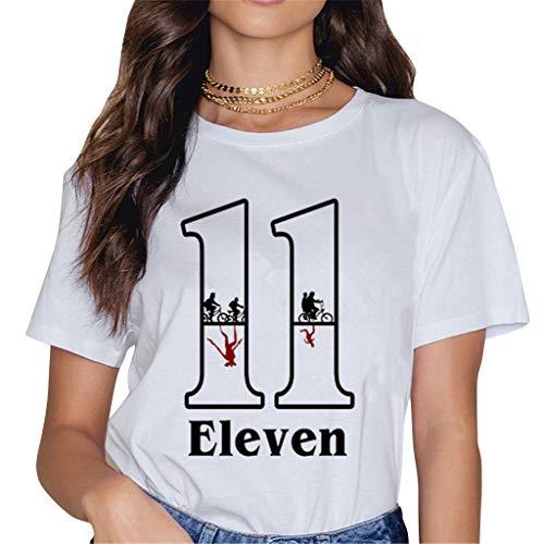 Camisetas Stranger Things Mujer, Camisetas Stranger Things Niña Retro tee Ringer T Shirt Manga Corta Abecedario Impresión T-Shirt Regalo Camisa Verano Camisetas y Tops (2,S)