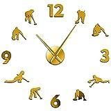 Reloj de Pared Reloj de Pared Barrido silencioso Moda Decoración del hogar Reloj de Bricolaje Competición de Curling Deporte de Invierno Oro 47 Pulgadas
