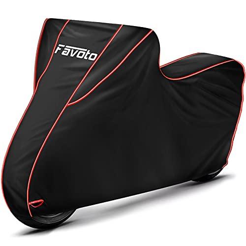 Favoto Funda para Moto Cubierta de la Motocicleta 300D Oxford con Largas Tiras Reflectantes a Prueba de Polvo Lluvia Viento Hojas Excrementos de Aves al Aire Libre XXL 245cm Negro+Rojo