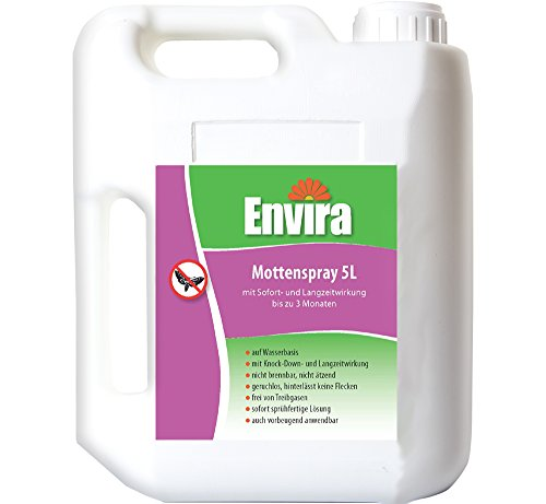 Envira Motten-Spray - Anti-Motten-Mittel Mit Langzeitwirkung - Geruchlos & Auf Wasserbasis - 5 Liter
