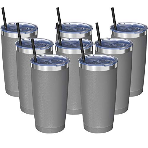 20oz Tumbler with Lid - Stainless Steel Travel Tumbler Vacuum Insulated & Double Wall Coffee Mug Cup by Aikico - Thermal Cup with Splash Proof Sliding Lid and Straws(Silver Gray,Set of 8)