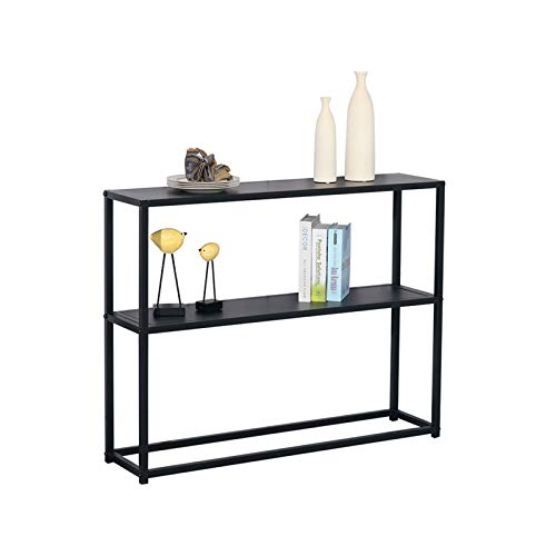 Home-table Black Console-Tabellen, Schmiedeeisen 2 Schicht Konsolentische Für Flur Slim Corridor Dekoration Wandtisch 60-120 cm(Size:60 * 25 * 75CM,Color:schwarz)