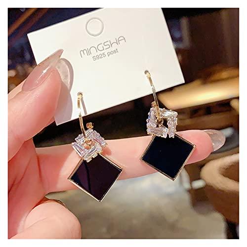 Houren Pendientes Redondos de Rhinestone New Black Fashion Coreano Personalidad Temperamento Salvaje Simple Pendientes Damas Joyas Oídos Decorativos (Metal Color : 18)