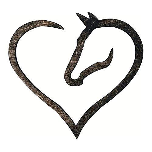 Signo de corazón de Caballo de Madera para Arte de Pared, Signo de corazón de Caballo Creativo y Simple para Arte de Pared para Regalo Interior y Exterior