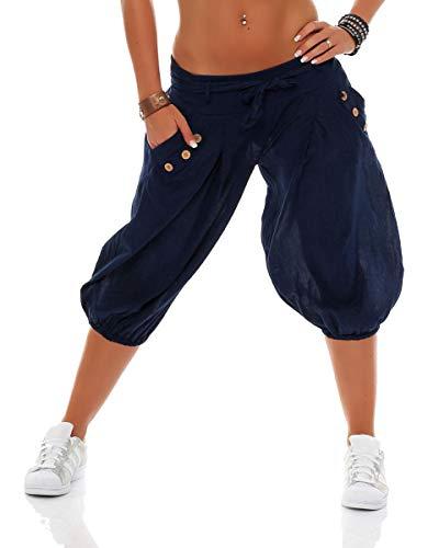 Malito Damen Pumphose in Unifarben   lässige Kurze Hose   Bermuda für den Strand   Haremshose - Pants 3416 (dunkelblau)