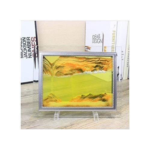 Jszzz 3D-Vision-dynamischer Fließen Sandmalerei Glas Sand Rahmen Moving orange Sand Bild mit...