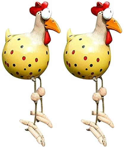 MKDASFD Decoración de jardín de gallina, decoración de gallina, gallina, decoración de jardín, decoración hecha a mano, gallo y pájaro, asiento lateral para interior y exterior