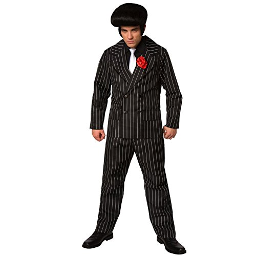 Herren Gangster Kostüm Mafia Nadelstreifen Anzug für Männer Qualität Kriminell verrückt - L (107-112 cm Brustumfang)