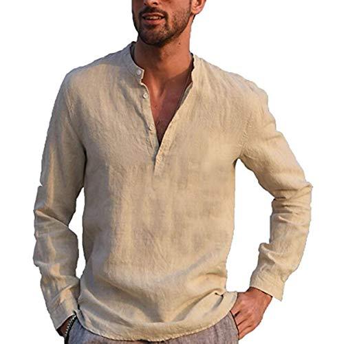 Vanornia Camicia Maglietta da Uomo Casual in Cotone e Lino con Maniche Lunghe Colletto Rialzato in Tinta Unita (Cachi, M)