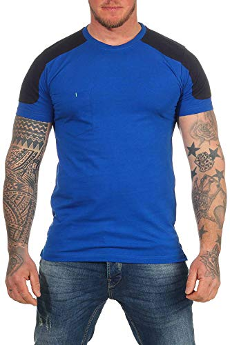 Mivaro Herren Arbeitsshirt mit Brusttasche, waschbar bis 60 °C, T-Shirt für die Arbeit, Größe:XL, Farbe:Blau