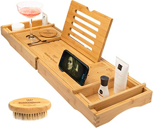 BAMBOO QUEEN Bath Tray - Bathtub Caddy with iPad Stand and Wine Glass Holder - Extendable Wooden Rack - Designed for UK Bathtub Sizes