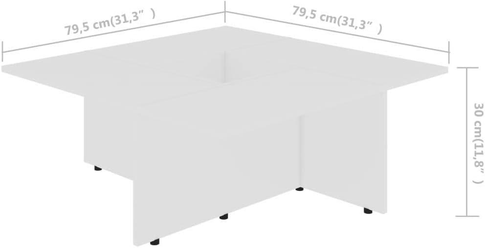 Festnight Tavolino da caff/è Tavolino da Salotto in Truciolato Tavolino da Divano Moderno Tavolo per Mobili da Sala da Pranzo 79,5x79,5x30 cm
