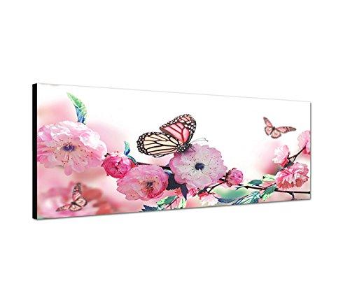Toile panoramique de 120 x 40 cm - Superbe image printanière - Papillon sur fleurs de cerisier roses - Belle couleur pour murs chauds.
