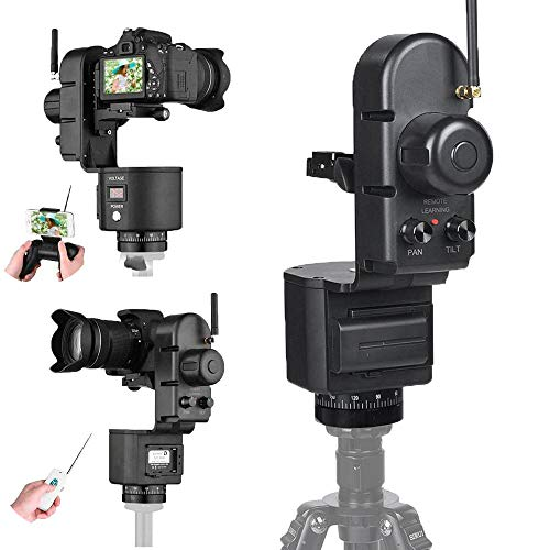 Serounder Motorized Pan & Tilt Gimbal Head, 360 Degree 40-50M Remote Control Electronic Pan Head, Professional Remote Control Pan Tilt and Rotate DLSR Camcorder Video Equipment Compatible, Load up 3kg