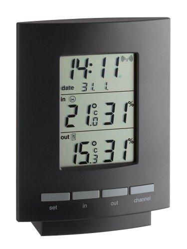 TFA Dostmann Maxim II Funk-Thermo-Hygrometer, Anzeige der Komfortstufen, Raumklima, Außentemperatur, Luftfeuchtigkeit, Funkuhr