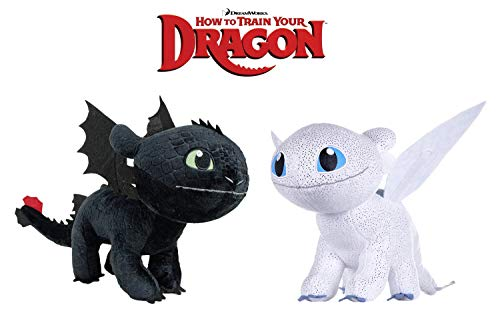 HTTYD Dragons, como Entrenar a tu dragón - Pack 2 Peluches Furia Luminosa (Light Fury) + Desdentao (Toothless) - Calidad Super Soft 11'80'/30cm (40cm Cola incluida)