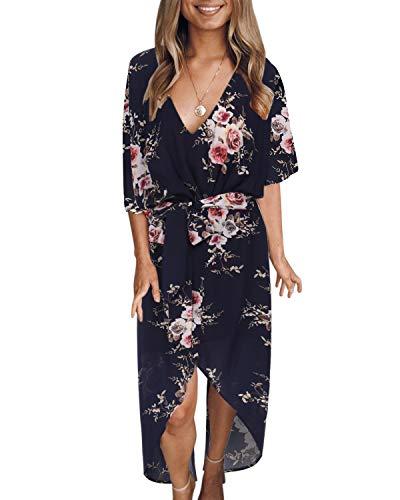 YOINS Sommerkleid Damen Lang V-Ausschnitt Off Shoulder Maxikleider für Damen Kleider Lose Kleid Strandmode,Dunkelblau,EU 46(X-Large)