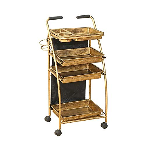 ASDAD 4 Tier Friseursalon Ablagewagen Friseurwagen Friseursalon Barbershop Dedicated Tool Holder Beauty Trolley,Classic Wheel