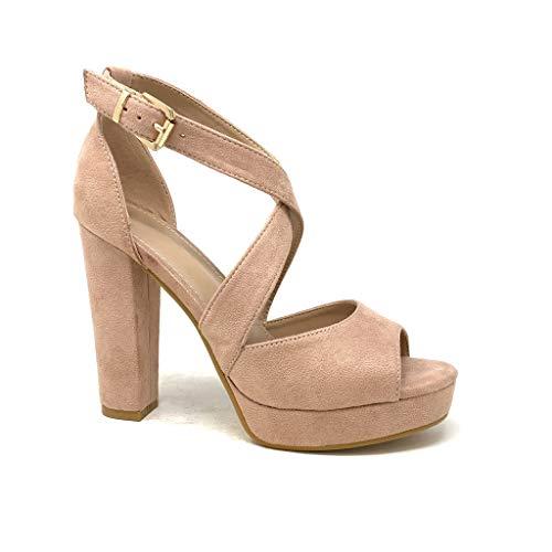 Angkorly - Damen Schuhe Sandalen Pumpe - High Heels - Plateauschuhe - Ehe Zeremonie - gekreuzte Riemen - Basic - Basic Blockabsatz high Heel 11.5 cm - Rosa B-88 T 38