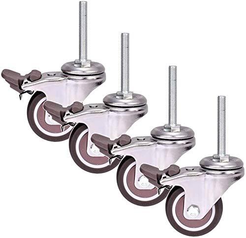 WWJ Ruedas 2 Pulgadas Ruedas de 50 mm M8 × 50 mm Rosca Ruedas para Muebles Silencioso Universal Giratorio Goma Resistente con Freno para Carro Cama de bebé Carro de Vino 200KG - 4PCS (Tornillo)