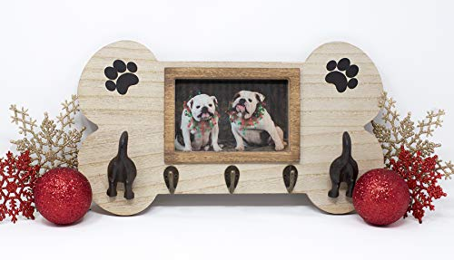 FoxCarr Wall Mount Dog Leash Holder with Key Holder Hooks, Leash Hanging Dog Tails, and 4x6 Picture Frame is Made of Quality Material. This Dog Accessories has a Picture Frame for Your Furry Friend.
