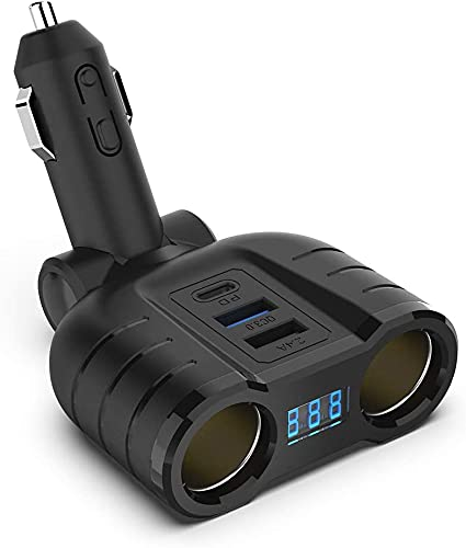 Adattatore QC3.0 per splitter accendisigari, caricabatteria da auto USB C con porta multi-alimentazione 12V/24V a 2 prese con display di tensione a LED Dual USB, porta PD per Phone/Laptop/dash cam GPS