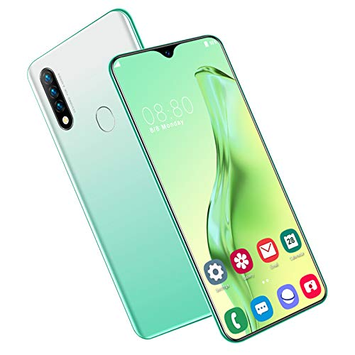DZWSD Mobile Phones,Unlocked Smartphone,Facial Recognition,6.7 inch HD Water Drop Screen,13MP+32MP Camera,SIM Card,64G,128G,Green,Black.
