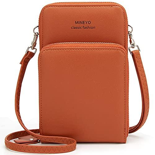 ZXM Bolsa de Hombro livianos de Las señoras,Billetera portátil de teléfono móvil Transversal con Correas Desmontables de Ranura de Tarjetas de crédito (Color : Naranja, Size : 7.1 * 4.3 * 2 in)