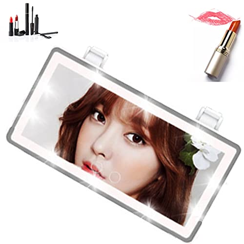 Car Vanity Mirror with Lights, Rechargeable Car Sun Visor Mirror with LED Lights, Portable Lighted Makeup Vanity Mirror, Automobile Make Up Mirror with Touch Screen for Car Truck SUV (White)