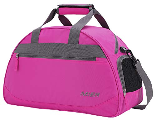MIER Gym Bag Sports Holdall Weekend Travel Duffel Bag with Shoes Compartment for Women and Men, 2 Colors (Pink)