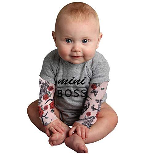 TWISFER Body Baby Boy Tattoo Gedruckt Langarm Patchwork Strampler Body Rundhalsausschnitt Bedrucktes Hip-Hop-Geschirr mit Tattoo-Ärmeln Jumpsuit Coole Neugeborenes Romper