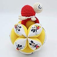 Pack de bienvenida o Canastilla - Pelota Montessori y Sonajero crochet- Mickey