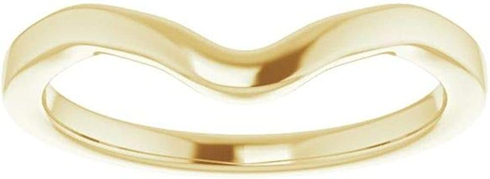Solid 14K Yellow Gold Curved Notched Wedding Band for 9 x 4.5mm Marquise Ring Guard Enhancer - Size 7