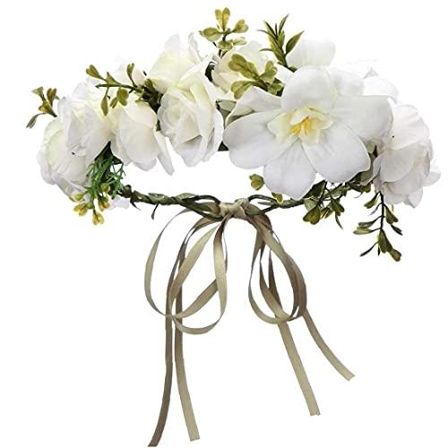 Berrywho Venda de la Flor de la Guirnalda Artificial Celada Rattan de la Guirnalda del Tocado de Color Crema Ajustable