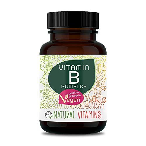 NATURAL VITAMINS® Vitamin B Komplex Forte I Mit bioaktiven Formen, Quatrefolic®, Kofaktoren I Laborgeprüft, vegan, hochdosiert I 180 Tabletten