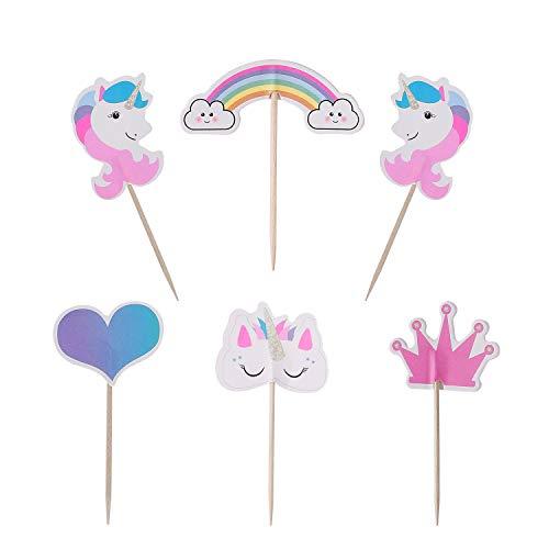 MengH-SHOP Cupcake Toppers Rainbow Cake Toppers para Niños Niñas Regalo Unicornio Decoraciones de Fiesta de Cumpleaños 48 Piezas
