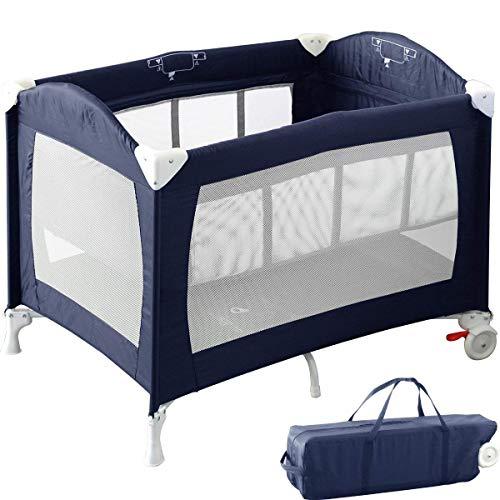 RiZKiZ ベビーサークル プレイヤード バシネット付き ネイビーブルー 2WAY 4面メッシュ キャスター 折りたたみ 収納 赤ちゃん おむつ台 ベッド フェンス