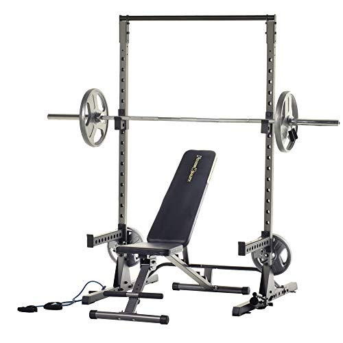 Fitness Reality Multi-Function Adjustable Power Rack Squat Stand with The 1000 Super Max Bench (2825)