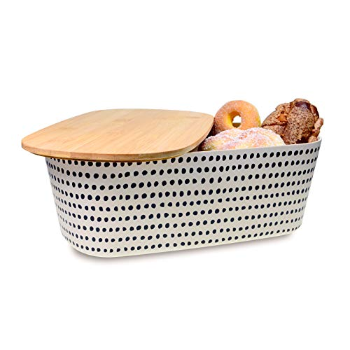 MOLADRI Bread Box with Bamboo Cutting Board Lid,Homemade Vertical Large Breadbox Storage Organizer,Bread Holder Container for Kitchen Countertop (White)