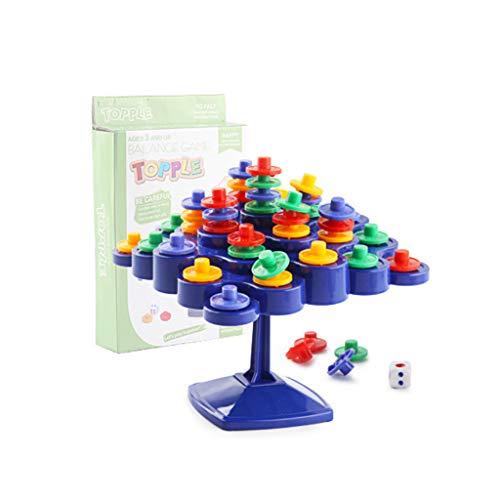 MiSha Bloques de amontonamiento de Juego de Equilibrio, Torre del Balance de plástico Juguetes para apilar Montessori apilar y clasificar los Juguetes educativos Bloques de construcción para niños