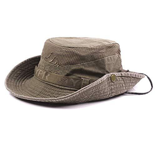 AoJuy Herren Baumwolle Geprägt Hut, Außen Sonnenschutz Breite Krempe Faltbar Dschungelhut Fischerhut für Angel Wandern - Licht Kaffee