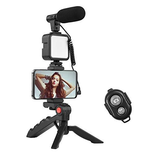 Kit de iluminação de vídeo LED, kit de vídeo Vlog da Andoer para telefone com tripé de mesa, suporte de telefone com microfone frio, luz de vídeo LED, obturador remoto para YouTube/transmissão ao vivo/maquiagem