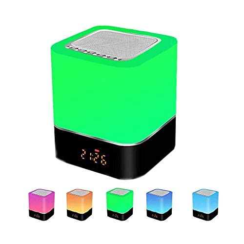 Altavoz Bluetooth Luz de Nocturna,Careslong lámpara de cabecera portátil sensible al tacto de 7 colores regulable, lámpara de con despertador,reproductor de MP3/radio FM/Despert de Música
