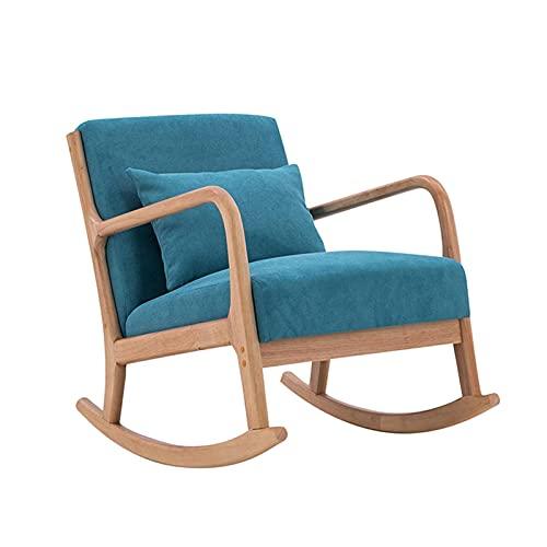 KUYH Silla mecedora reclinable de salón, sillón de madera, siesta familiar y silla de balcón de ocio, para sala de estar y dormitorio balcón