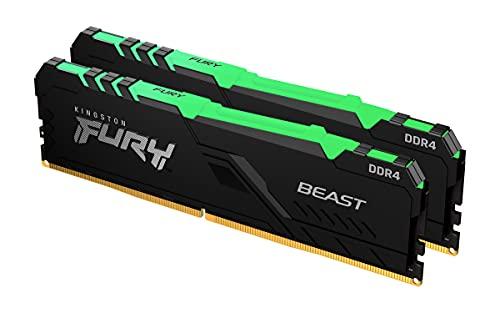 Kingston FURY Beast RGB 32GB (2x16GB) 3200MHz DDR4 CL16 Memoria Gaming Kit per Computer Fissi Kit da 2, KF432C16BB1AK2/32