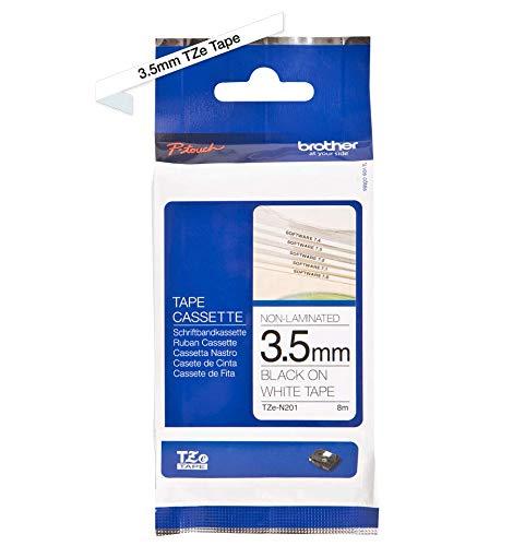 Brother Original P-touch Schriftband TZE-N201 3,5 mm, schwarz auf weiß (für Brother P-touch PT-H100, -E100/VP, -D200/VP, -D210/VP) nicht laminiert