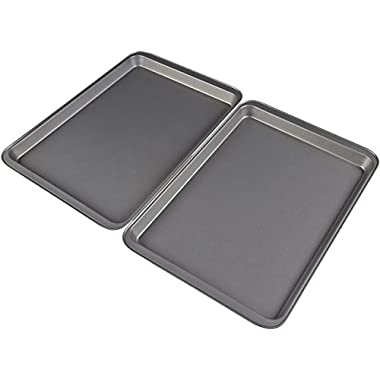 AmazonBasics Nonstick Carbon Steel Half Baking Sheet - 2-Pack
