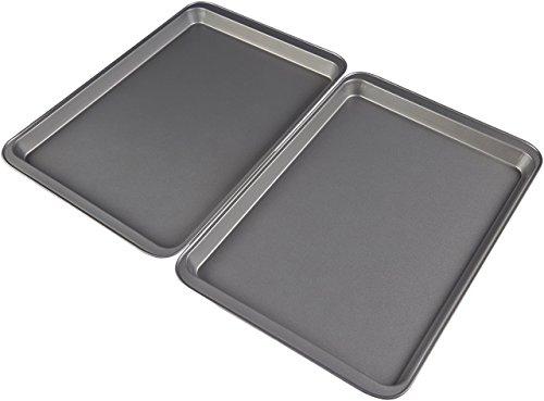 """AmazonBasics - Teglia da forno con rivestimento antiaderente, di tipo """"Half"""" (dimensioni: 48x33cm), in acciaio al carbonio, confezione da 2"""