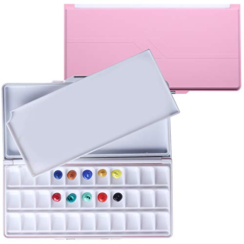 MEEDEN Airtight Leakproof Watercolor Palette Travel Paint Tray with A Large Mixing Areas, 33 Wells Pink Folding Peel-Off Palette for Watercolor, Gouache, Acrylic Paint