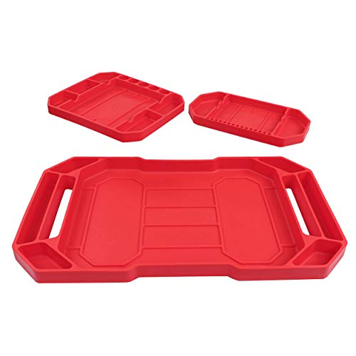 ABN Flexible Tool Tray, 3pk - Silicone Rubber Tools Organizer, Non Slip Tool Holder Tray for Organizing Parts, 3 Sizes